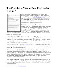 Standard Resume The Cumulative Vitae Or Even The Standard Resume