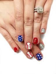 baseball nails red white and blue nails 4th of july nails