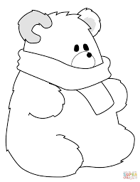 polar bear with scarf coloring page free printable coloring pages
