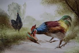 french antique hand painted rooster majolica wall hanging plate