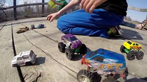 monster truck crashes video monster trucks in the forest kids playing toy cars imagination