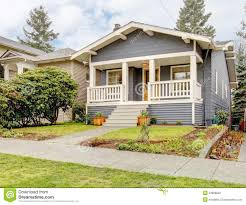 What Is Craftsman Style House Grey Craftsman Style House With White Porch Royalty Free Stock