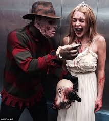 Halloween Freddy Krueger Costume Lindsay Lohan Wears 1920s Dress Gruesome Halloween