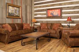 Stone Wall Tiles For Living Room Brown Leather Tufted Comfy Sofa Varnished Wood Floor Tile Western