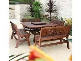 jensen leisure beechworth square outdoor table becker furniture shown with amber bench and lazy susan