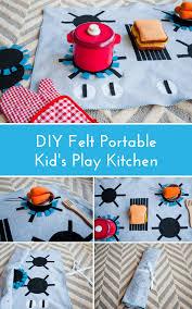 homemade play kitchen ideas felt stove diy kids play kitchen roll it up put it away diy