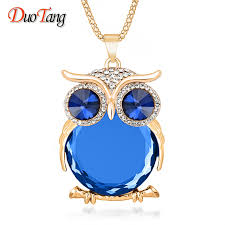 owl necklace silver images 8 colors trendy owl necklace fashion rhinestone crystal jewelry jpg