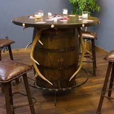 whiskey barrel bar table elk antler western barrel pub table