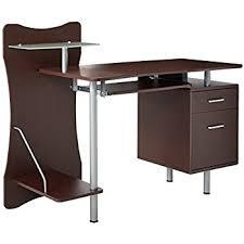 techni mobili double pedestal laminate computer desk chocolate amazon com techni mobili computer desk with storage mahogany home