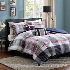 Twin Xl Bedding Sets For Guys Elegant Red Navy White Plaid Striped Teen Boy Bedding Twin Xl Full