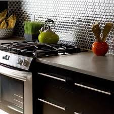 stainless steel backsplash penny round tile modern fashion kitchen
