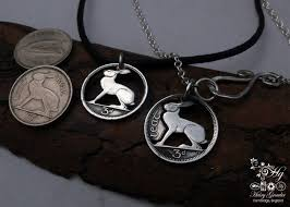 coin jewelry necklace images Cut and recycled irish hare coin necklace jpg