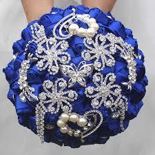 wedding flowers royal blue aliexpress buy royal blue satin flowers wedding bouquets