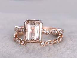 open wedding band 2pc 6x8mm morganite engagement ring set gold diamond wedding