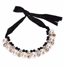 pearl rhinestone necklace images Pearl rhinestone necklace with satin band traits jpg