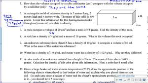 density worksheet key youtube