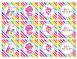 my pony cupcake toppers diy printable my pony happy birthday rainbow cupcake