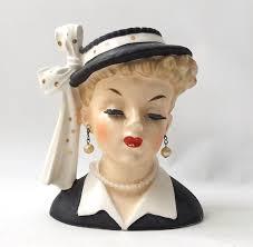 Napco Lady Head Vase Vintage 1950s Mid Century Modern Retro Napco Hand Painted