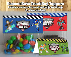 transformers rescue bots party supplies rescue bots inspired treat bag toppers rescue instbirthday
