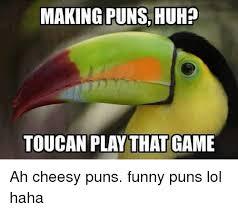 Cheesy Memes - making puns huhp toucan play that game ah cheesy puns funny puns