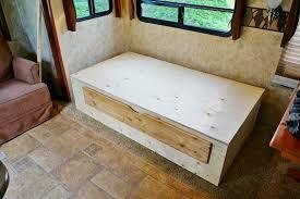 Rv Sofa Bed Rv Interior Renovation Project Part Two Rv Daybed Build Regarding
