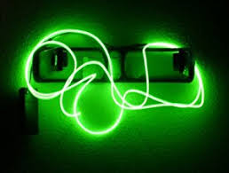 9ft lime green neon glowing strobing electro luminescent wire el