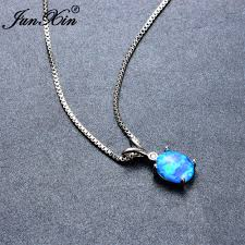 opal necklace setting images Junxin women blue opal necklace oval prong design new fashion jpg