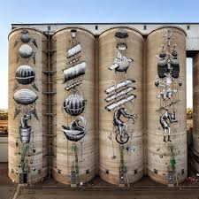 after two solid weeks of working ten hours a day our friend new mural by british artist phlegm on giant grain silos in perth australia 2015