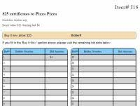 simple form for recording bids at a silent auction columns for