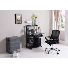 Black Glass Computer Desk Hodedah Black Glass Computer Desk With Pull Out Keyboard Tray