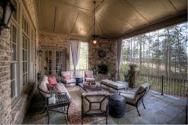 Country Porch With Exterior Stone Floors By Atlanta Sold Sisters - Ballard design sofa