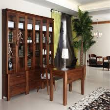 antique simple style low price solid wood bookcases with study