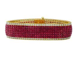 set bracelet images 18kt yellow gold diamond ruby invisible set bracelet cj JPG