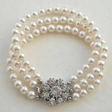 white pearl bracelet images Rhinestone flower three string pearl bracelet by katherine swaine jpg