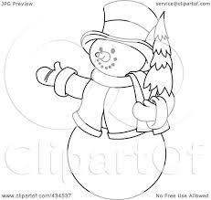 royalty free rf clipart illustration of an outline of a snowman