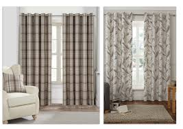 ponden home interiors rustic woodland woven check curtains feather printed curtains
