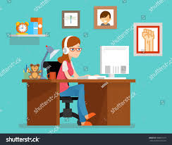 freelancer designer working home computer freelancer designer stock vector