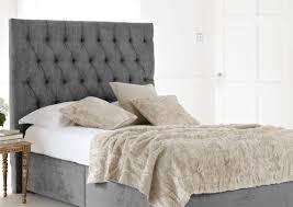 gray velvet full size bed frame with tufted backboard using white