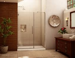 bathroom interesting frameless shower door with wooden cabinets