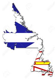 map of province national flag of newfoundland and labrador on map of province