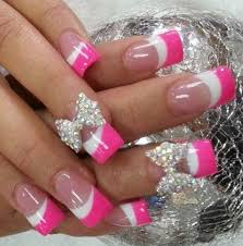 pink french wiith bow accent 3d accent nails and manicure