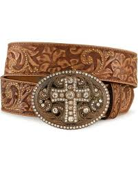 floral belt justin women s leather floral belt and cross buckle boot barn
