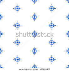 watercolor delft blue style seamless pattern stock illustration