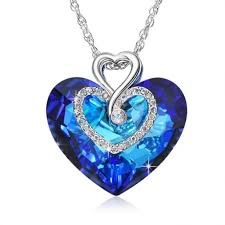blue crystal necklace swarovski images Love you forever pendant necklace for women with heart ocean blue jpg