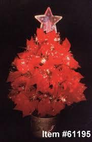 24 light up fiber optic poinsettia tree