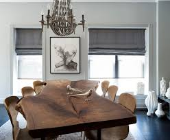 live edge table with condo dining room transitional and