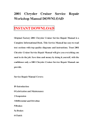 2001 chrysler cruiser service repair workshop manual download