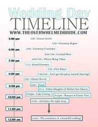 day of wedding coordinator sle timeline for a 2pm wedding adjust as needed the real