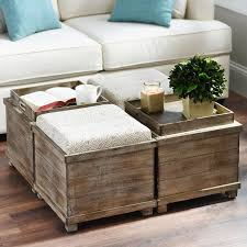 Cocktail Storage Ottoman Coffee Table With Ottoman Seating For Cocktail