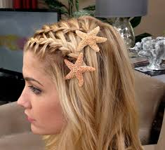 starfish hair clip waterfall braided bangs with starfish hair hair and updos